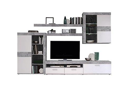 NEWFACE Wohnwand inklusive LED-Beleuchtung, Holz, Beton Optik / Weiß, 300 x 41 x 200.90 cm
