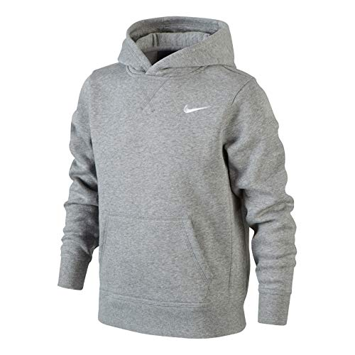 Nike Jungen Kapuzenpullover Brushed Fleece, dk grey heather/white, M, 619080-063