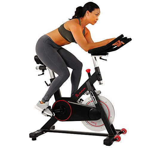 Sunny Health & Fitness Magnetic Belt Drive Indoor Cycling Bike with 44 lb Flywheel and Large Device Holder, Black, Model Number: SF-B1805 by Sunny Distributor Inc.