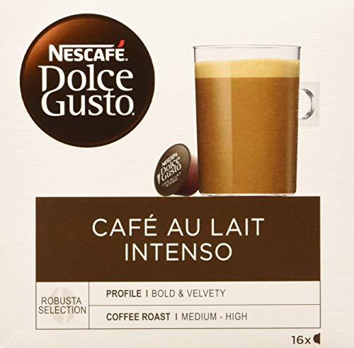 Nescafé Dolce Gusto - Café Con Leche Intenso, 16 cápsulas x 10 g, Total de 160 g, Negro