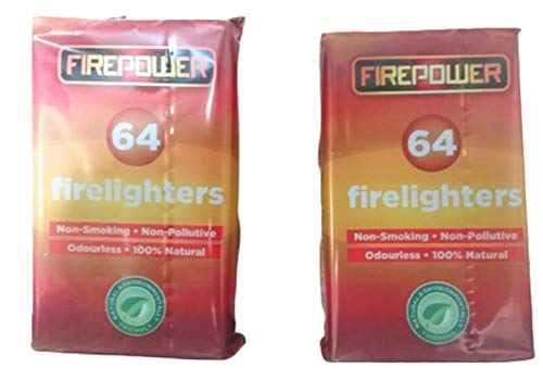 Natuurlijke eco hout brandweerlieden Fire starter voor houtskool BBQ's Pizza oven rokers kampvuren open haarden houtkachels. Bevat 2 verpakkingen van 64 totaal 124 brandweerlieden Uitstekende waarde