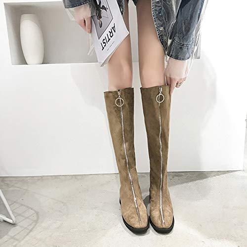 Shukun enkellaarsjes lange laarzen kinderen dik met herfst en winter voor rits en knielaarzen ronde kop met dunne laarzen