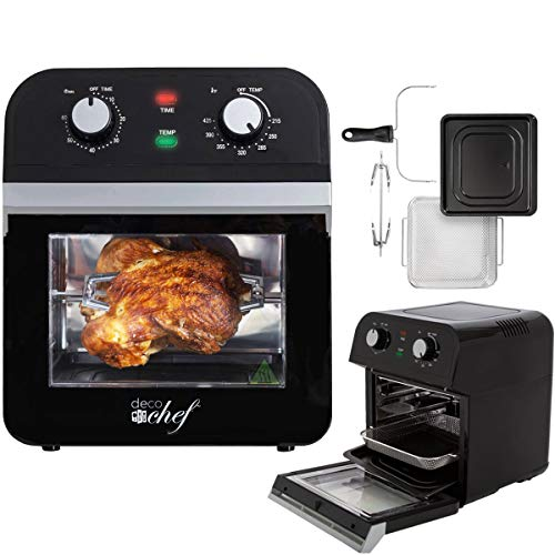 Deco Chef XL 12.7 QT Oil Free Air Fryer Multi-Function High Capacity Countertop Convection Oven, Toaster, Rotisserie All-in-One Healthy Kitchen Oven Instructional Cook Book Included (Black)