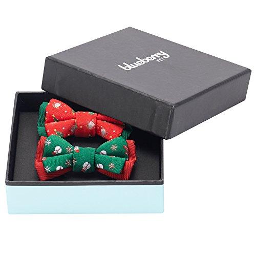 Blueberry Pet New Geschenkset Doppelpack Handgefertigte Fliegen, Weiter Feiern Fliege Set, 7cm * 5cm, Haustierpflege & Accessoires für Hunde & Katzen