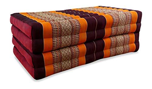 livasia Folding mattress with 100% natural Kapok filling, day bed, foldable cushion, relaxation (orange)