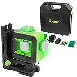 Huepar フルライン レーザー墨出し器 グリーン 緑色 レーザー クロスライン 大矩照射 3電源方式 【収納ケース&L型エレベーターマウント付き】 603CG-H