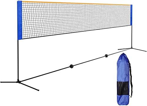 Qdreclod Badminton Netz Mit Ständer 5.1M Volleyballnetze Federballnetz Volleyball Netz Tennisnetz Trainingsnetz für Indoor Indoor Outdoor Sportgarten Schulhof Hinterhof (Blau, 5.1 M)