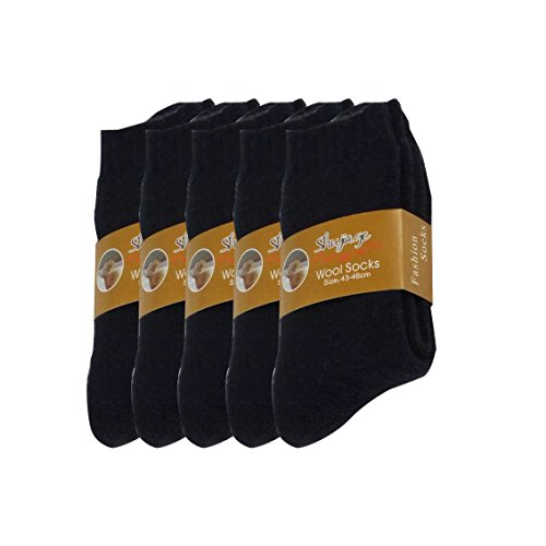 Chaussettes De Hiver De La Laine Couleur Lisse Thermique Super Épais Chaud Pour Homme Hauteur Au Dessus De La Cheville Lot De 5 Paires (Bleu, 38-46)