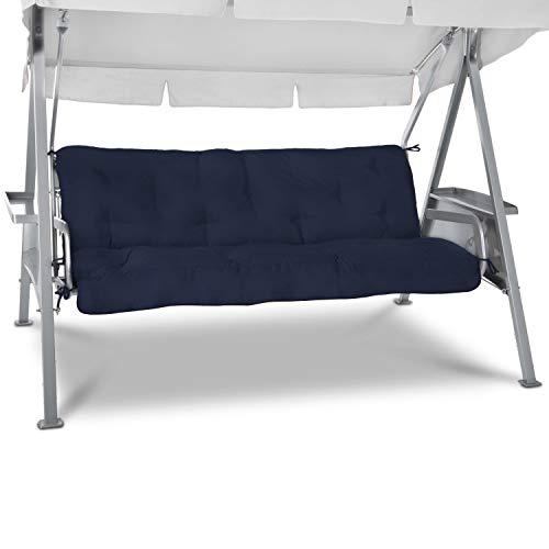 Beautissu Cuscini per dondoli e altalene da Giardino Flair HS - 180x50x8 cm - 2 braccioli e Un soffice Cuscino Grande - Blu Scuro