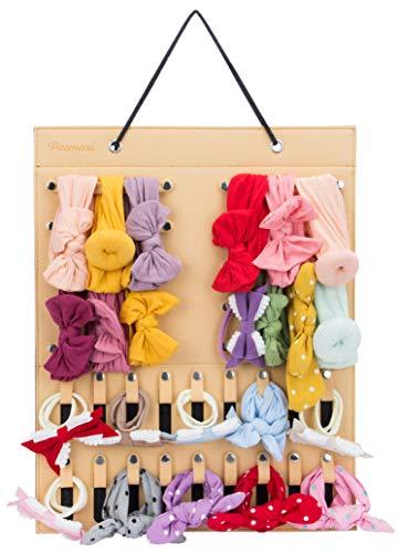Hanging Baby Girl Headbands Storage Organizer, Newborn Headbands and Bows Holder(10 Snap Band+18 Snaps, Yellow)