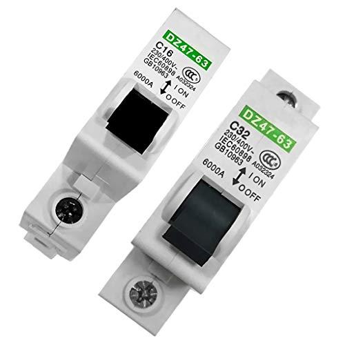 harayaa Disyuntor de Protección de Producto Electromecánico de Sobrecarga 1-Pole 32A + 16A
