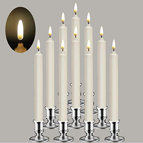Da by Flameless Candles,New 3D Flame Technology Window Candles, Ivory 10 inch LED Flameless Flickering Battery Candles with Remote Candles/Timer Function(Warm White Light) - Set of 10