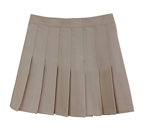 Women School Uniforms plaid Pleated Mini Skirt Khaki a 4