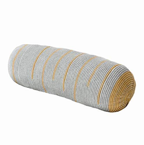 Ancoree Gestrickte Baumwollrücken Kissen Gut für Lendenwirbelsäule Plüsch Dekorative Throw Pillow Lange Halten Kissen Insert Füller füllen für Decor Vielseitige Pillow (Yellow)