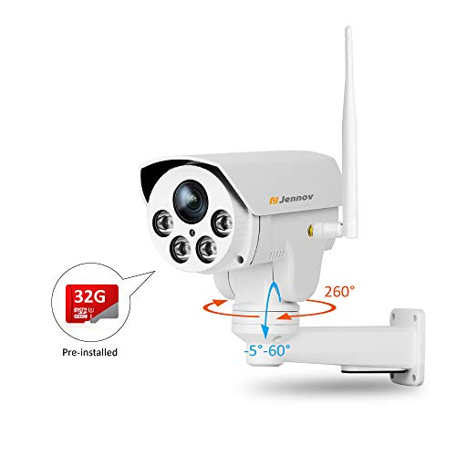 Jennov Wireless WiFi Security IP Camera 1080P Home Video Network Surveillance Pre-Installed 16G MicroSD Card with 3mm Lens Outdoor Waterproof Night Vision
