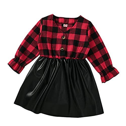 Alunsito Vestido de manga larga con volantes para niños y niñas, con retazos a cuadros, de piel sintética, para otoño y invierno, rosso, 3-4 Años