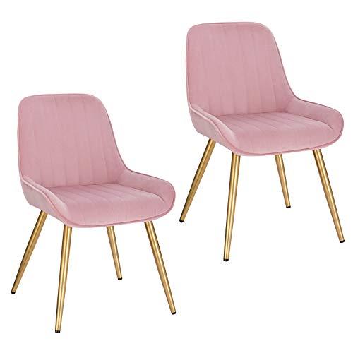 Lestarain 2X Sillas de Comedor Dining Chairs Sillas Tapizadas Paquete de 2 Sillas Cocina Nórdicas Terciopelo Sillas Bar Metal Silla de Oficina Rosa