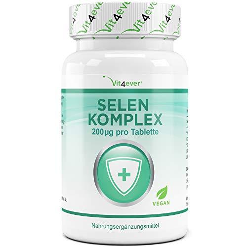 Vit4ever Selen Komplex - 365 Tabletten mit je 200 mcg - Laborgeprüft - Premium Komplex aus Natriumselenit & Selenmethionin - Hochdosiert & Vegan - Jahresvorrat
