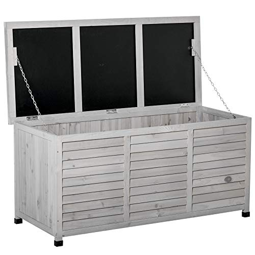 Outsunny 75 Gallon Wooden Deck Box, Outdoor Storage Container with Aerating Gap & Weather-Fighting Finish, Grey