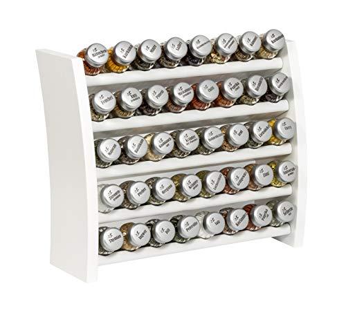Gewürzregal, Küchenregal aus Holz für Gewürze und Kräuter, 40 Gläser, Gald - 40F 8x5 weiß matt