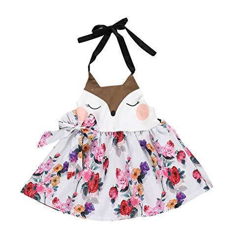 Alwayswin Mädchen Sommer A-Linien Kleid Süß Mode Ärmelloses Kleid Weste Kleid Outdoor Freizeit Wild Sommerkleid Cartoon Blumendruck Kleid Hängender Hals Kleid mit Offenem Rücken