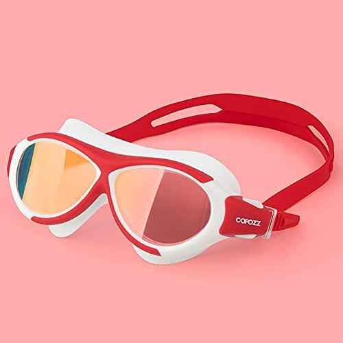 Lunettes de plongée Lunettes de natation professionnelles pour enfants enfants ajustable UV étanche lunettes de bain anti-brouillard lunettes de bain lunettes de sport Nager ( Color : Mirror red )