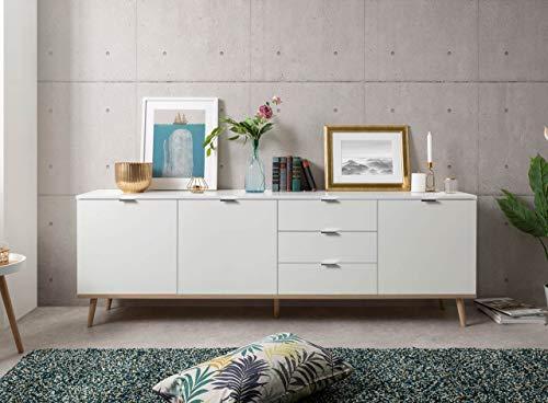 lifestyle4living Sideboard in weiß mit Unterbau in Sonoma Eiche-Dekor, Füße in Esche massiv, Kommode mit viel Stauraum hinter 3 Türen und in 3 Schubladen