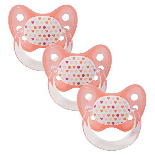 Dentistar® Schnuller 3er Set - Baby Nuckel Silikon in Größe 2, 6-14 Monate - zahnfreundlich & kiefergerecht - Beruhigungssauger für Babys - Made in Germany - BPA frei - Herzen + Punkte