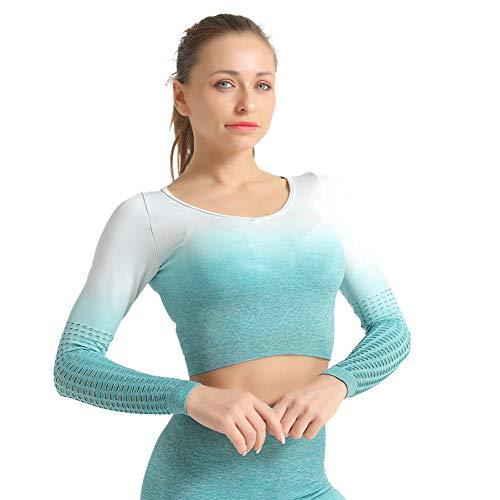 SotRong Camiseta de manga larga para mujer, color degradado, sin costuras, para...