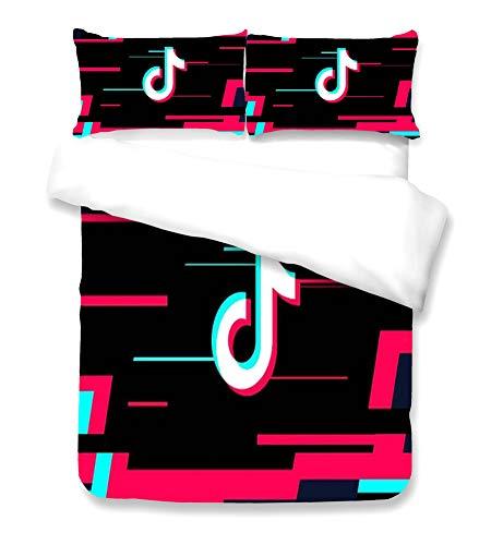 CDH Tik Tok 3D dreiteilig Bettwäsche, Haushaltsbettbezug, mit Bettdecke und Kopfkissen aus 100% Polyester Mikrofaser, dekorativer Bettwäsche, Geeignet für Mädchen, Teenager,2,King Xl102×90in