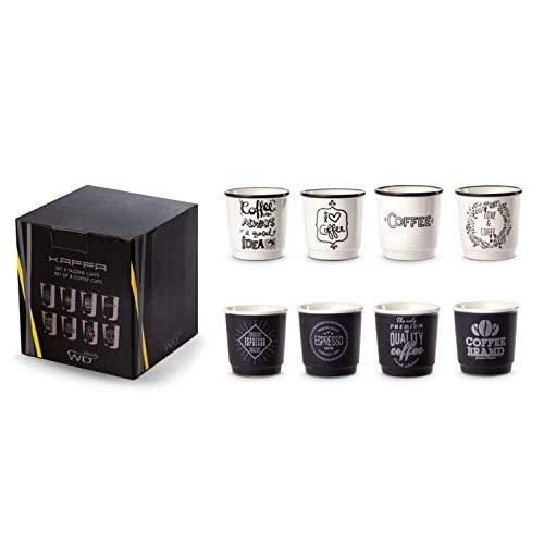 Juego de 8 tazas de New Bone China decoradas con gráficos exclusivos que recuerdan el café. Acabado mate negro/blanco con acabado brillante. Capacidad: 100 ml.
