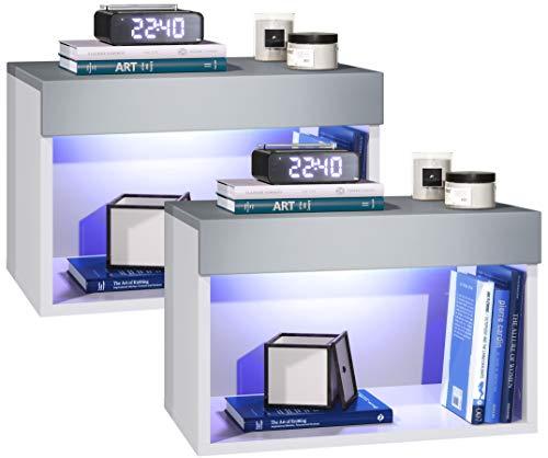 Vladon Nachtkommode Nachtkonsole Pure 2er Set, Korpus in Weiß matt/Oberböden und Blenden in Hellgrau seidenmatt, mit RGB LED Beleuchtung