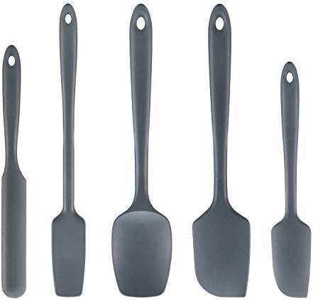 Cooptop 5 Piece Silicone Spatula Set Rubber Spatula Heat Resistant Baking Spoon Spatulas Dark product image