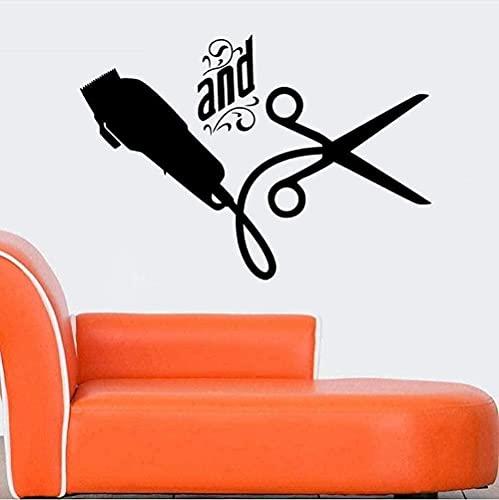 wwccy sticker wall sticker barber shop sticker name scissors hairdresser beauty salon sticker sex hairstyle poster art sticker 58X82Cm
