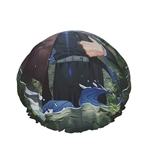 Kimetsu No Yaiba - Gorro de ducha para mujer, doble capa, impermeable, diseño de forro Eva, para mujeres, niñas, spa, uso en el hogar, hotel y peluquería