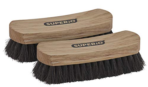 """Horsehair Shoe Brush (2 Pack) Premium Genuine Soft Horse Hair Bristles, 7"""" high-density Concave Design Wood Handle - Comfortable Grip, Anti Slip Sparkle for Shoes, Boots and Leather Care. By Superio"""