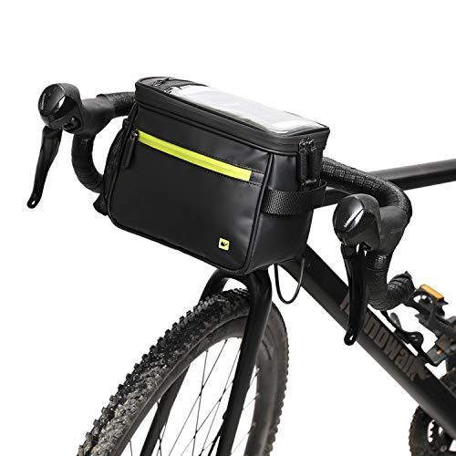 Asvert Fahrrad Lenkertasche wasserdichte Fahrradtasche Lenker mit Abnehmbarem Schultergurt und Regenschutz, geeignet für Fahrten im Freien (Schwarz und Grün)