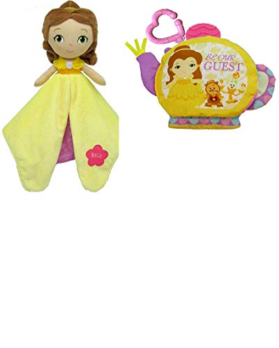 Kids Preferred Disney On The Go Soft Teether Book, + Activity Toy Plush Doll Bundle Set (Belle)