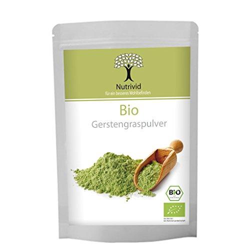 Nutrivid Bio Gerstengraspulver ohne Zusätze aus deutschem Anbaugebiet Rohkostqualität
