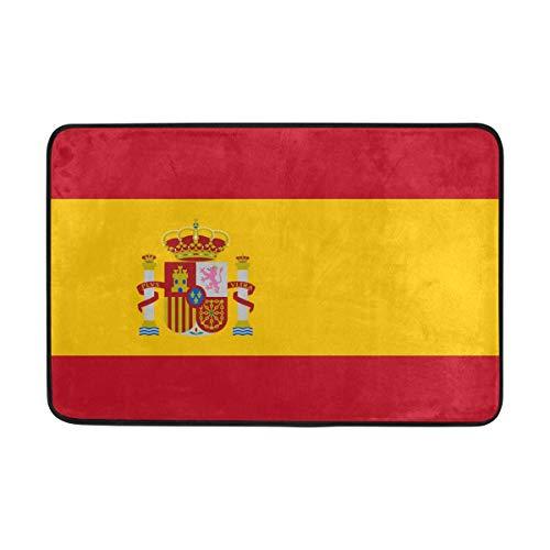 DEZIRO Alfombra de entrada con bandera de España, antideslizante, lavable