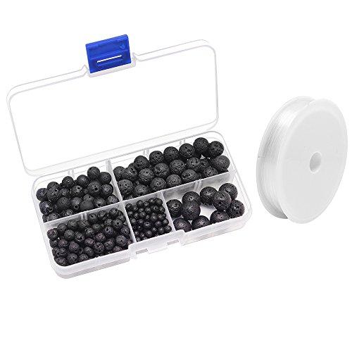 Hysagtek 300pezzi nero pietra lavica perline energia pietra rotonda sciolto perline con cristallo elastico per creazione di gioielli fai da te Crafts