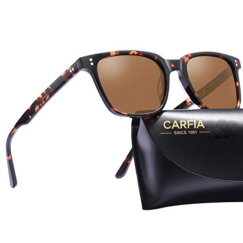 Carfia Gafas de Sol Polarizadas para Mujer y Hombre UV400 Marco de Acetato Moda Retro Adecuado para Conducir al aire Libre