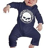 Dezzert030 Baby Langarm Onesies Harley Schädel Bodysuit Baumwolle Kleinkind Strampler Outfits für Jungen Mädchen