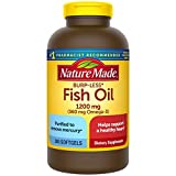 Nature Made Burp-Less Fish Oil 1200 mg, 300 Softgels, Fish Oil Omega 3 Supplement For Heart Health