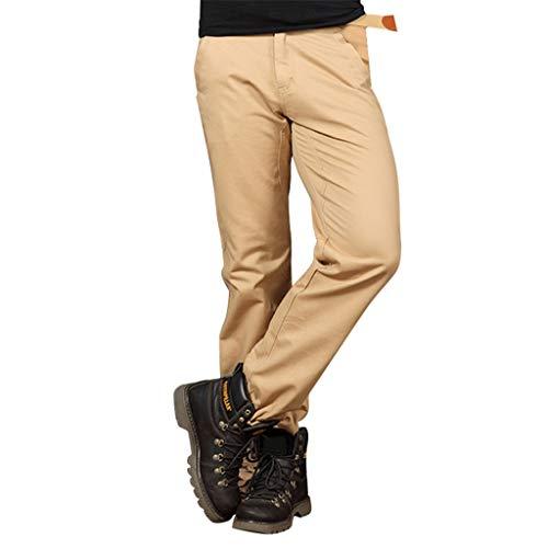 Geilisungren Pantalones Cargo para Hombre,Trabajo con Multibolsillos para Trabajo Viaje Deporte Pantalón Holgado holgazán de Color Puro de Algodón Puro Suelto para Hombre(Caqui,32)