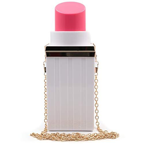 QiMing Schultertasche, Lippenstift-Form, schwarz, Abend-Handtasche für Frauen und Mädchen, Gelb (Fensbd), Small