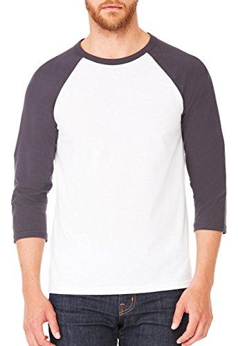 Baseball-Shirt aus Canvas-C3200-Material, Unisex, 3/4-Arm, meliert Gr. XL, WHITE/DARK GREY