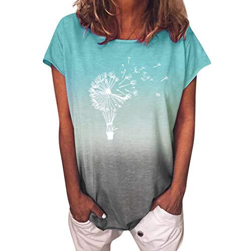 Damen T-Shirt Sommer Kurzarm Löwenzahn Drucken Rundhals Oberteile Casual Lose Bluse Shirt T-Shirt Damen Sommer Kurzarm Oberteile Pusteblume Drucken Tee Tops Casual Loose Shirts