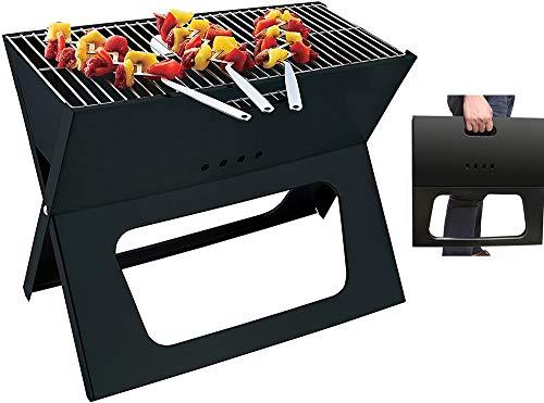 BBQ houtskoolgrill Premium draagbare houtskoolbarbecue Opvouwbare en ruimtebesparende BBQ Barbecue Grill Extra groot grilloppervlak voor kamperen, reizen, tuin, buiten, terras 3-5 mensen Zwart