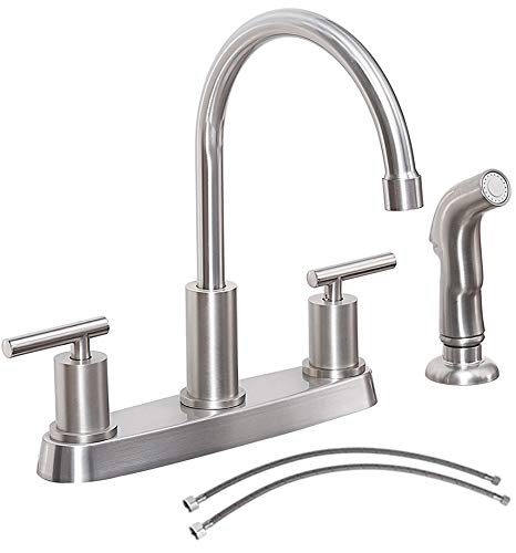 KINFAUCET Modern Two-Handle Kitchen Sink Faucet with Side Sprayer, High Arc 360 Swivel Stainless Steel 3 or 4 Hole Kitchen Faucet for Rv Camper Laundry Utility Bar Sinks, Brushed Nickel